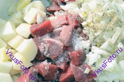 Мясо соединить с картофелем и луком. Приправить солью и перцем.