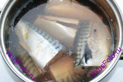 Тушки скумбрии очистить от внутренностей и удалить голову. Нарезать тушки на 2-3 части и уложить в кастрюлю. Залить остывшим маринадом. Поставить в холодильник на 3 дня.