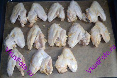Маринованные куриные крылышки разложить на противне с бумагой.