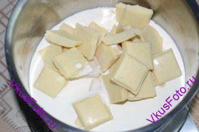 Шоколад залить сливками и кастрюлю поставить на средний огонь.