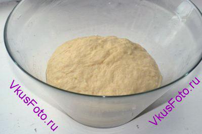 В зависимости от качества, муки может потребоваться от 800 до 1000 г. Тесто должно быть мягким и не липнущим к рукам.  Переложить тесто в большую миску смазанную маслом. Поставить тесто на 40-50 минут в теплое место без сквозняков, накрыв полотенцем.