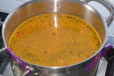 Сразу же добавить имбирь, перец чили, кориандр, куркуму и соль. Поставить кастрюлю на огонь и, периодически помешивая, довести суп до кипения. Варить 1 час.