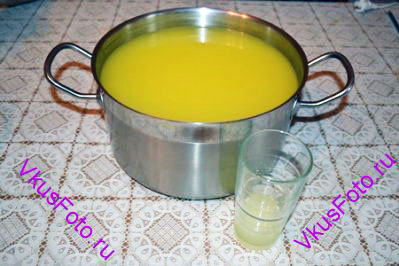 В полученный сок положить сахар, сок лимона и влить 4 литра воды. Перемешать.