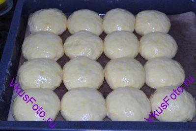 Противень с булочками поставить в теплое место на 60-80 минут. Подошедшие булочки смазать слегка взбитым яйцом.