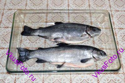 Форель очистить от чешуи, выпотрошить, натереть внутри и снаружи солью и перцем. Уложить рыбу в жаропрочную посуду.