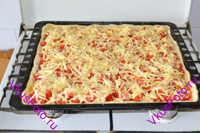 Сыр натереть на крупной терке, равномерно разложить на поверхности пиццы.